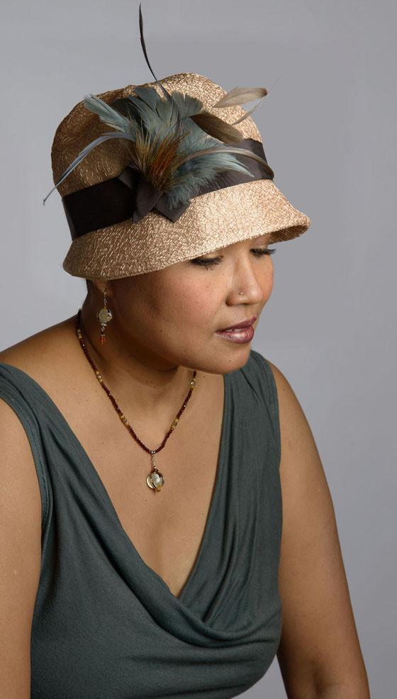 Grace Cloche Style Hat - Tumbleweed in Champagne