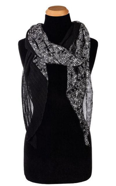 Handkerchief Scarf - Black & White Paisley with Jet Cotton Voile Black/White Paisley W/ Jet Voile Scarves Pandemonium Millinery