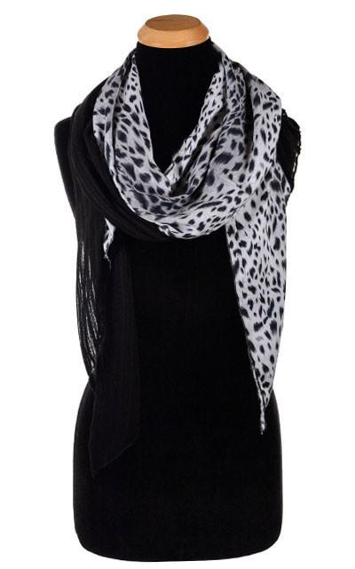 Handkerchief Scarf - Cotton Voile in Jet with White Burmese