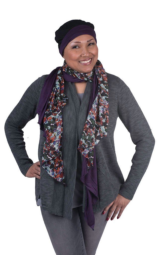 Handkerchief Scarf - Purple Impression with Abyss Jersey Knit