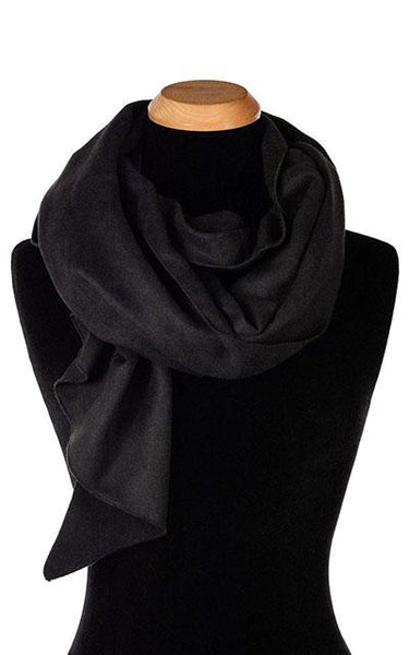 Handkerchief Scarf - Soft Faux Suede, Solid Soft Faux Suede in Black Scarves Pandemonium Millinery