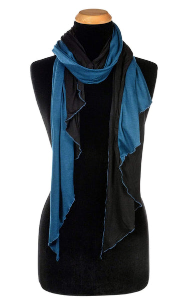 Pandemonium Millinery Handkerchief Scarf - Two-Tone, Jersey Knit Abyss W/ Blood Moon Scarves