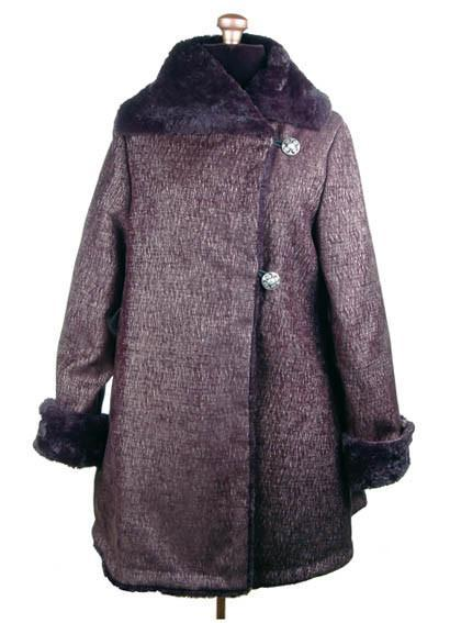 Hepburn Swing Coat - Bongo Upholstery with Cuddly Faux Fur (One Medium Left)