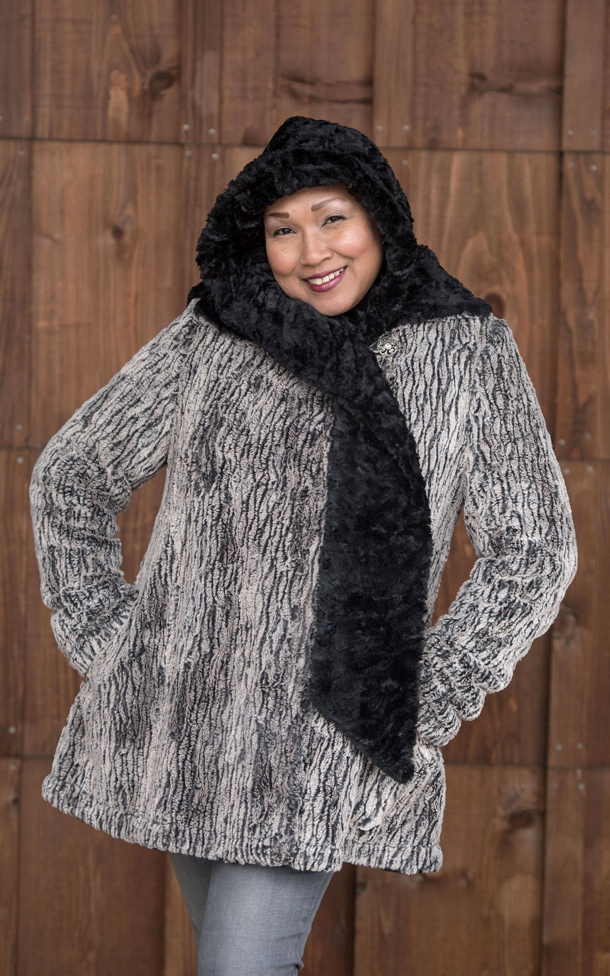 Hepburn Swing Coat - Luxury Faux Fur in Black Walnut with Cuddly Fur in Black (One Medium Left!)