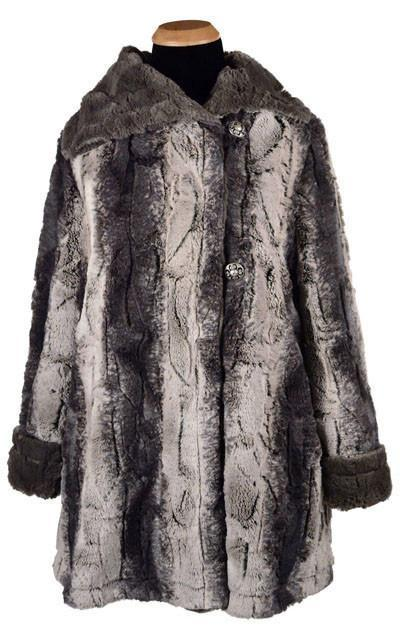 Hepburn Swing Coat - Luxury Faux Fur in Meerkat with Cuddly Fur in Gray (1 each XS-S-M-L Only!)