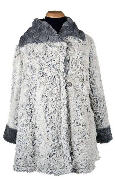 Hepburn Swing Coat, Reversible less pockets - Luxury Faux Fur in Stratus with Cuddly Fur (Two XL in Sienna / Two Large & One Medium in Silver Left!) X-Small / Silver Stratus / Stone Outerwear Pandemonium Millinery