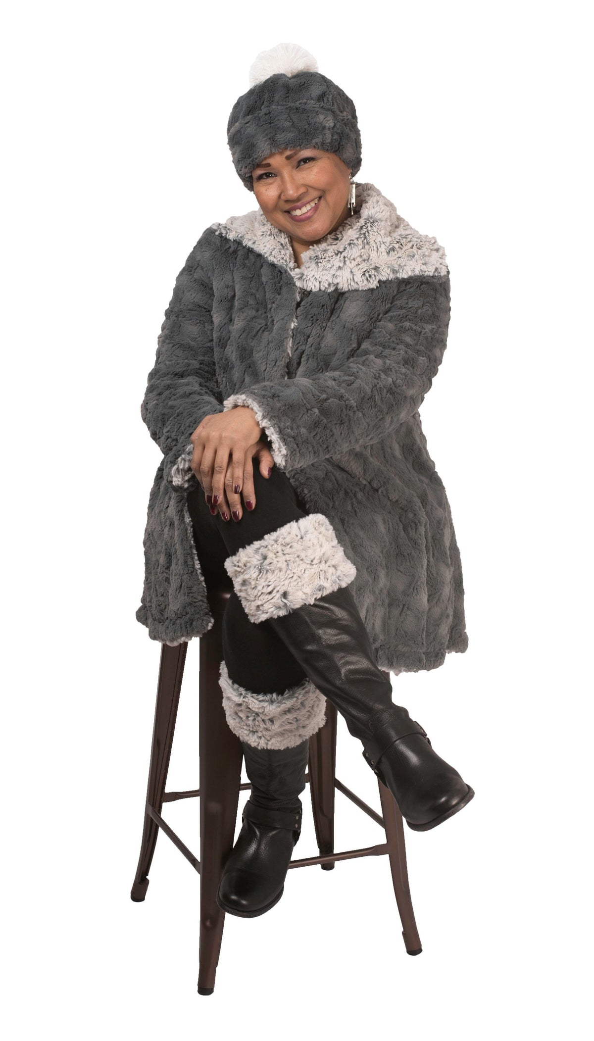 Hepburn Swing Coat, Reversible less pockets - Luxury Faux Fur in Stratus with Cuddly Fur (Two XL in Sienna / Two Large & One Medium in Silver Left!) X-Small / Sienna Stratus / Chocolate Outerwear Pandemonium Millinery