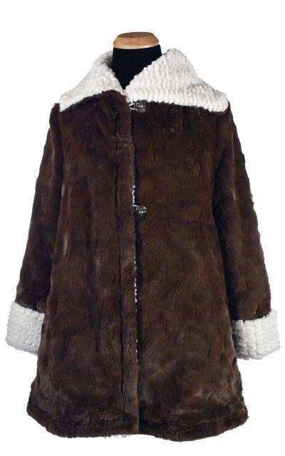Hepburn Swing Coat, Reversible less pockets - Snow Mogul Faux Fur with Cuddly Fur in Chocolate (One Medium Left!) X-Small / Snow Mogul / Chocolate Outerwear Pandemonium Millinery