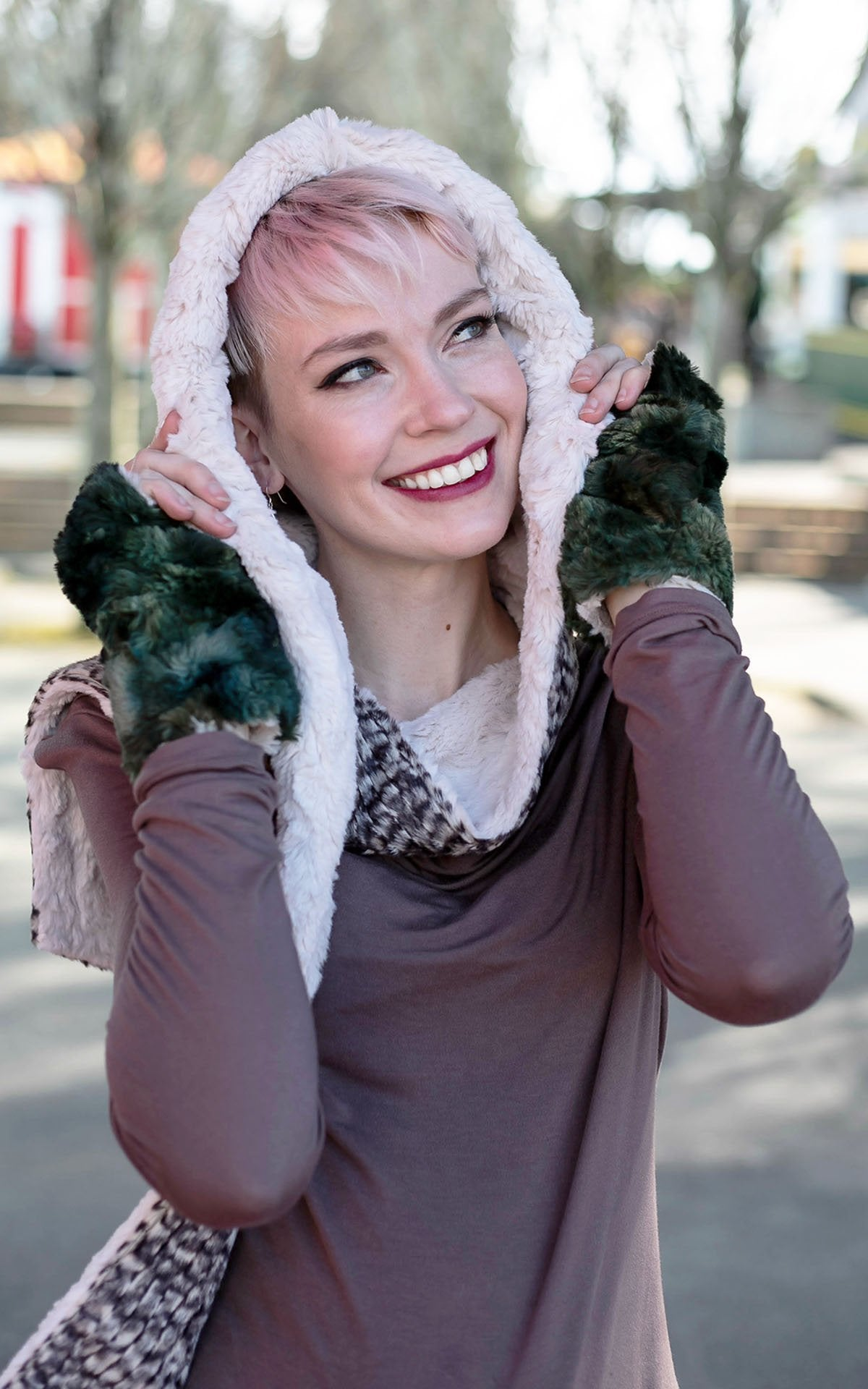 Hoody Scarf - Cobblestone in Brown/Cream Faux Fur with Cuddly Fur in Sand (Limited Availability)