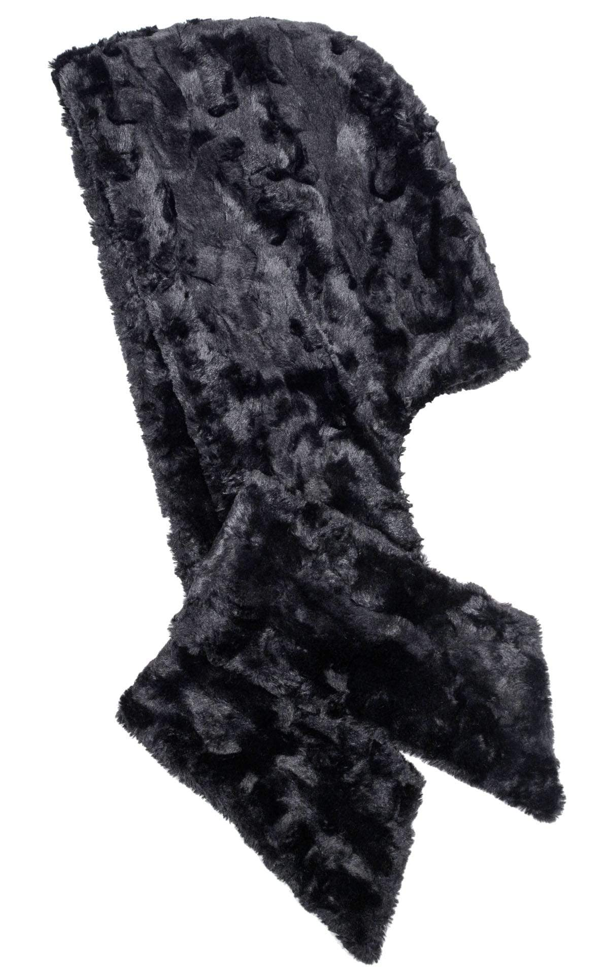 Hoody Scarf - Cuddly Faux Fur in Black with Assorted Faux Fur