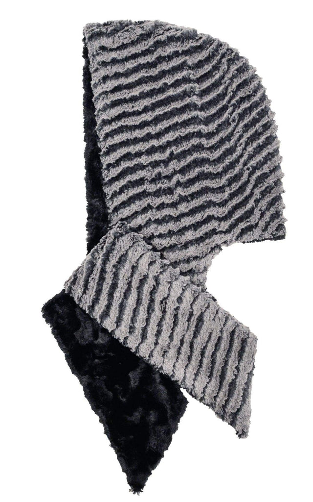 Pandemonium Millinery Hoody Scarf - Desert Sand Faux Fur with Cuddly Fur in Black Charcoal / Black Scarves