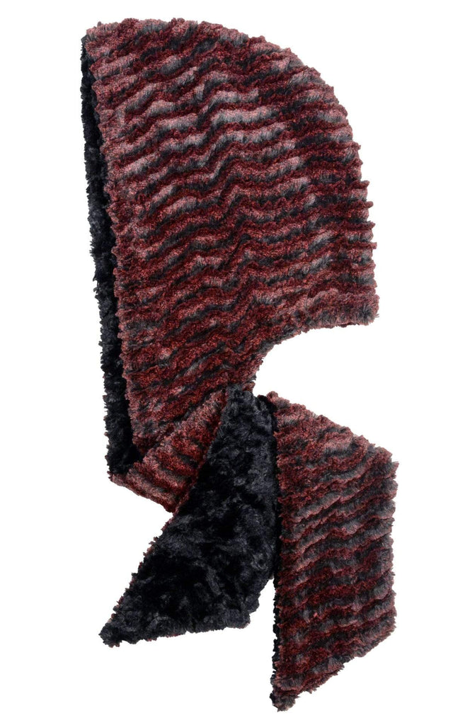 Pandemonium Millinery Hoody Scarf - Desert Sand Faux Fur with Cuddly Fur in Black Crimson / Black Scarves