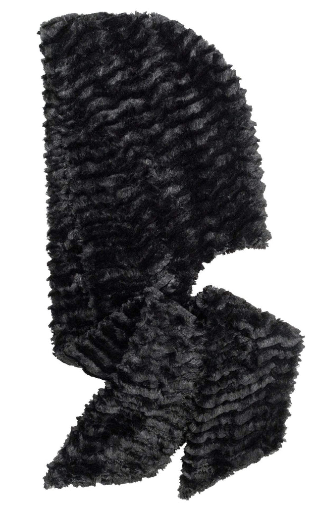 Pandemonium Millinery Hoody Scarf - Desert Sand Faux Fur with Cuddly Fur in Black Midnight - Solid Scarves