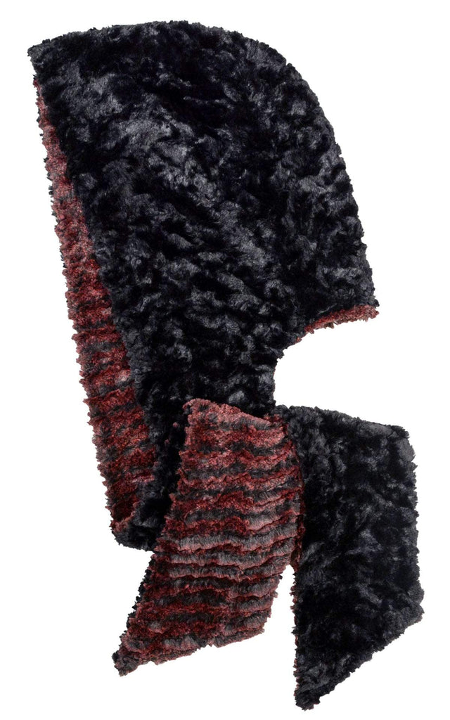 Pandemonium Millinery Hoody Scarf - Desert Sand Faux Fur with Cuddly Fur in Black Scarves