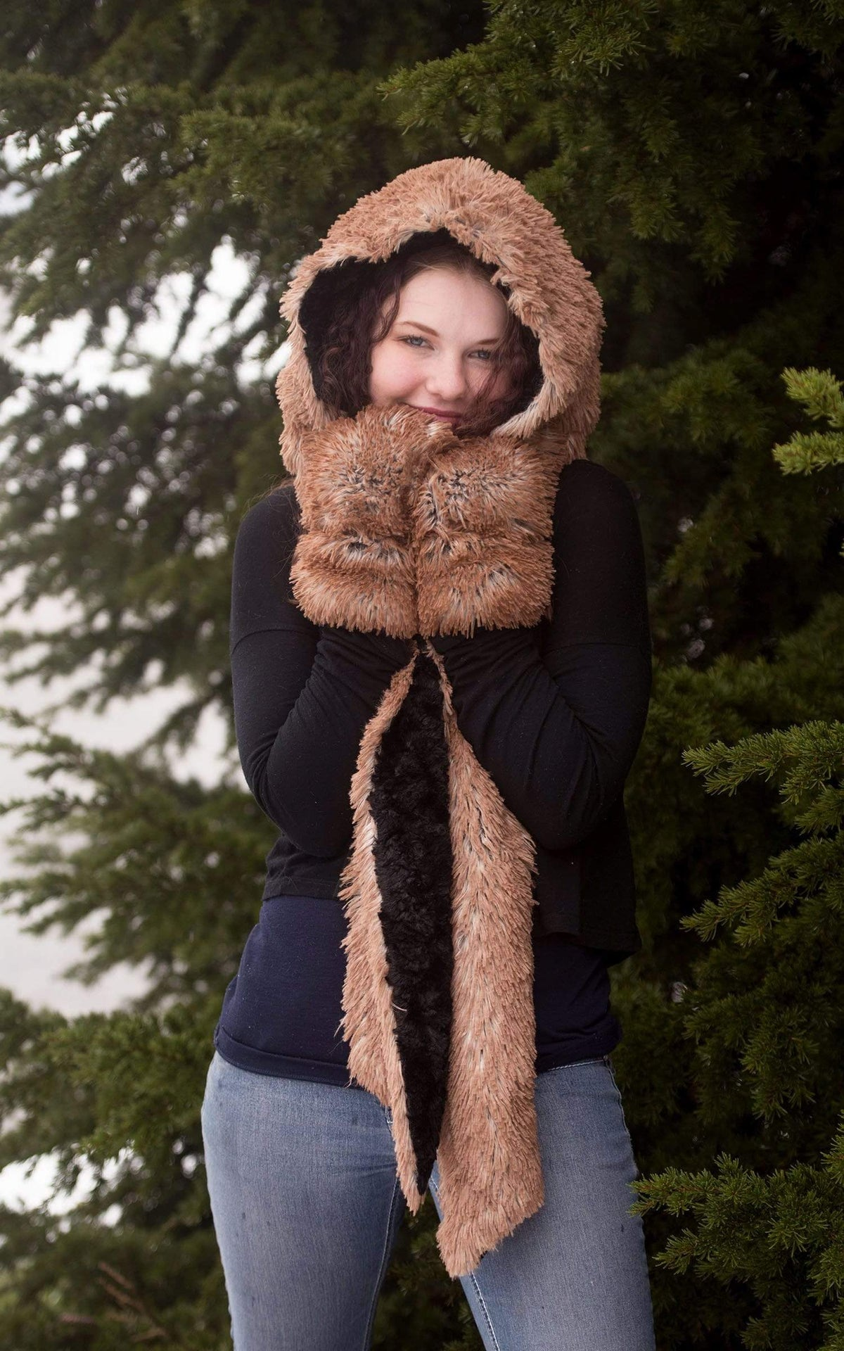 Pandemonium Millinery Hoody Scarf - Fox Faux Fur with Cuddly Fur Scarves