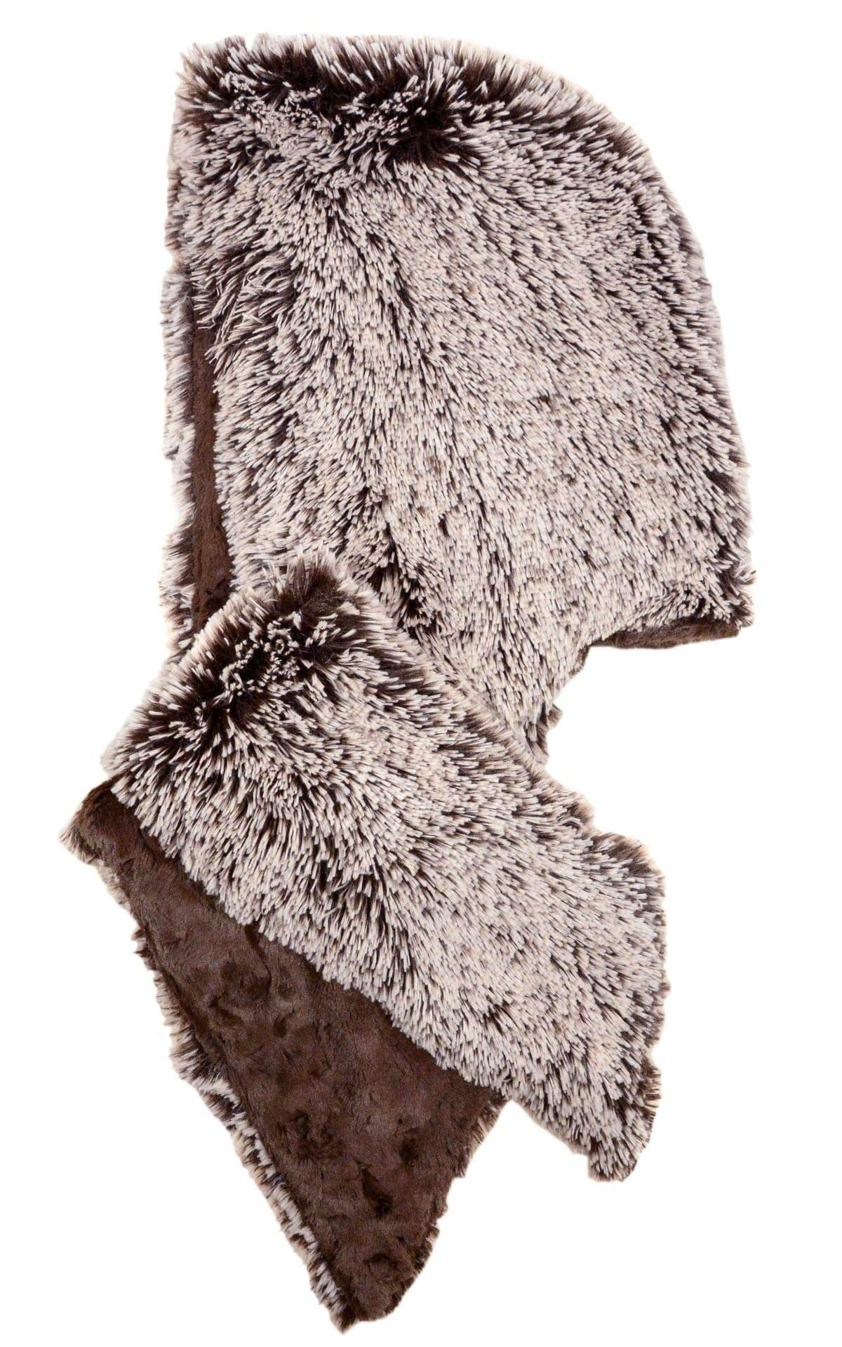 Pandemonium Millinery Hoody Scarf - Fox Faux Fur with Cuddly Fur Silver Tipped Fox Brown / Chocolate Scarves