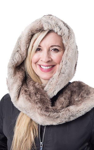 Hoody Scarf - Luxury Faux Fur in Fawn Fawn - Solid Scarves Pandemonium Millinery