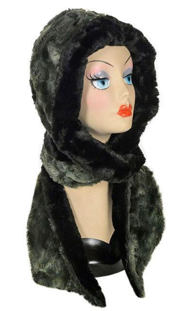 Hoody Scarf - Luxury Faux Fur in Highland with Cuddly Fur Meadow Scarves Pandemonium Millinery