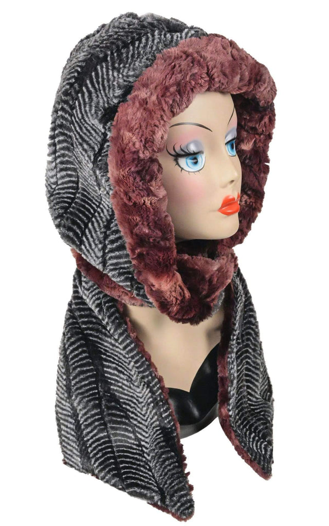 Pandemonium Millinery Hoody Scarf - Luxury Faux Fur in Highland with Cuddly Fur  (Meadow - LIMITED AVAILABILITY) Scarves