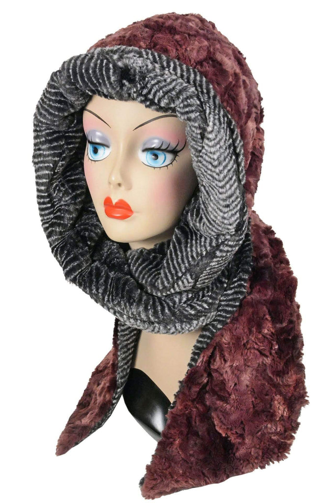Pandemonium Millinery Hoody Scarf - Luxury Faux Fur in Highland with Cuddly Fur  (Meadow - LIMITED AVAILABILITY) Thistle / Nightshade Scarves
