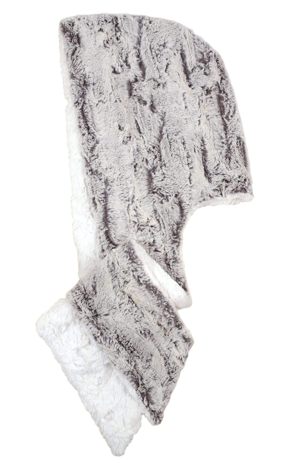 Hoody Scarf - Luxury Faux Fur in Khaki with Assorted Faux Fur