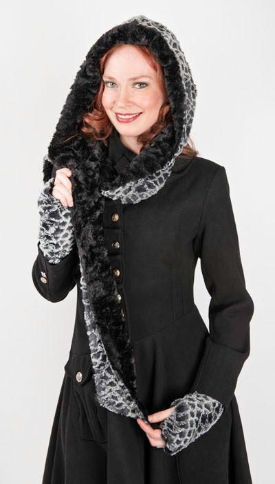 Hoody Scarf - Luxury Faux Fur in Snow Owl with Cuddly Fur in Black