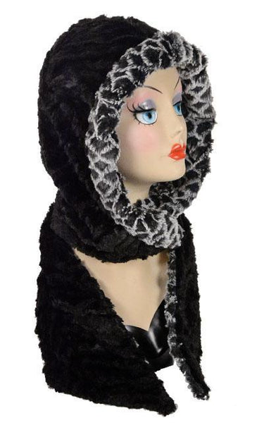 Hoody Scarf - Luxury Faux Fur in Snow Owl with Cuddly Fur in Black Snow Owl  / Black Scarves Pandemonium Millinery