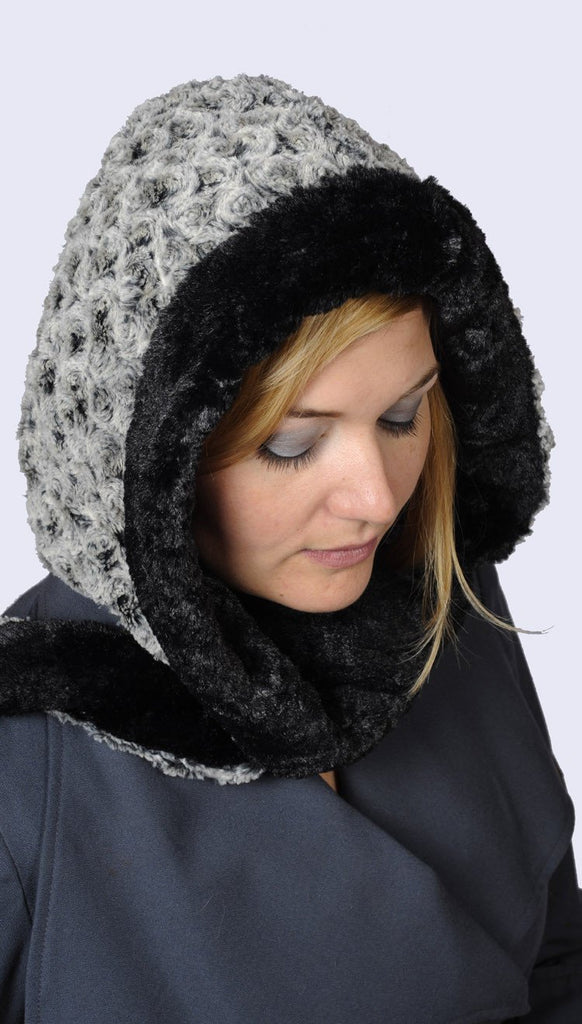 Hoody Scarf - Rosebud Faux Fur with Cuddly Fur Rosebud in Black / Black Scarves Pandemonium Millinery
