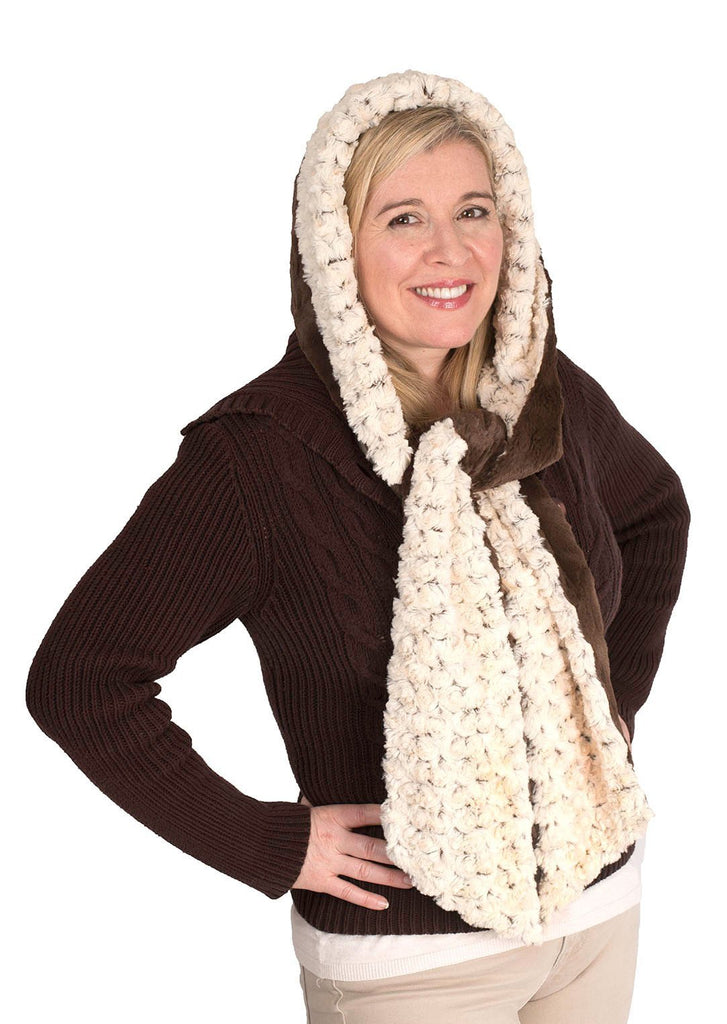 Hoody Scarf - Rosebud Faux Fur with Cuddly Fur Rosebud in Brown / Chocolate Scarves Pandemonium Millinery