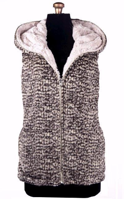 Hoody Vest - Cobblestone in Brown/Cream Faux Fur with Cuddly Fur in Sand (Only One Small Left)