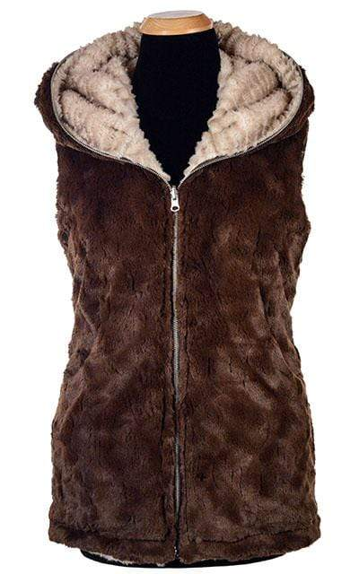Pandemonium Millinery Hoody Vest - Plush Faux Fur in Cornish Rex with Cuddly Fur in Chocolate (Only One Medium Left) Outerwear