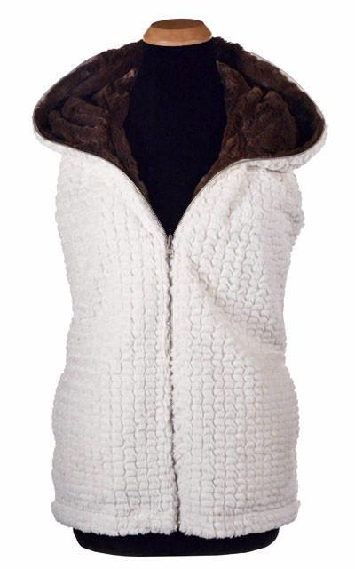 Hoody Vest, Reversible less pockets - Snow Mogul Faux Fur with Cuddly Fur in Chocolate (One Medium Left!) X-Small / Snow Mogul / Chocolate Outerwear Pandemonium Millinery