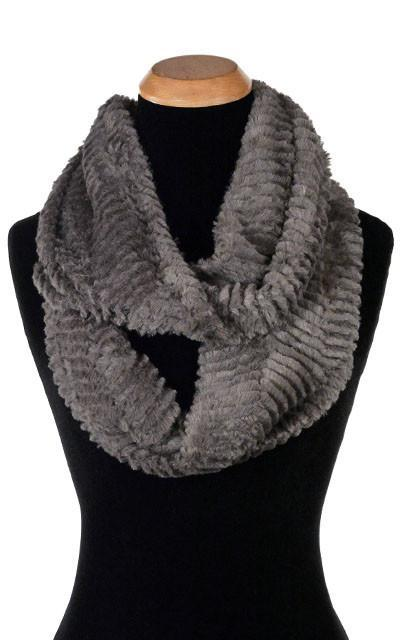 Infinity Scarf - Chevron Faux Fur in Gray