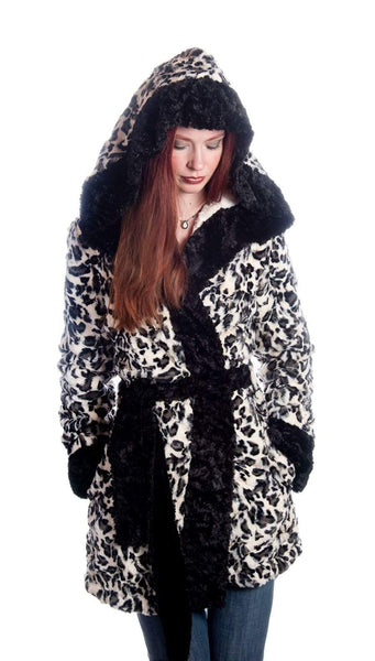 Pandemonium Millinery Joplin Coat (Robe), Reversible less pockets - Luxury Faux Fur Agate in Black with Cuddly Fur in Black (Only Medium Left!) Small / Agate / Black Outerwear