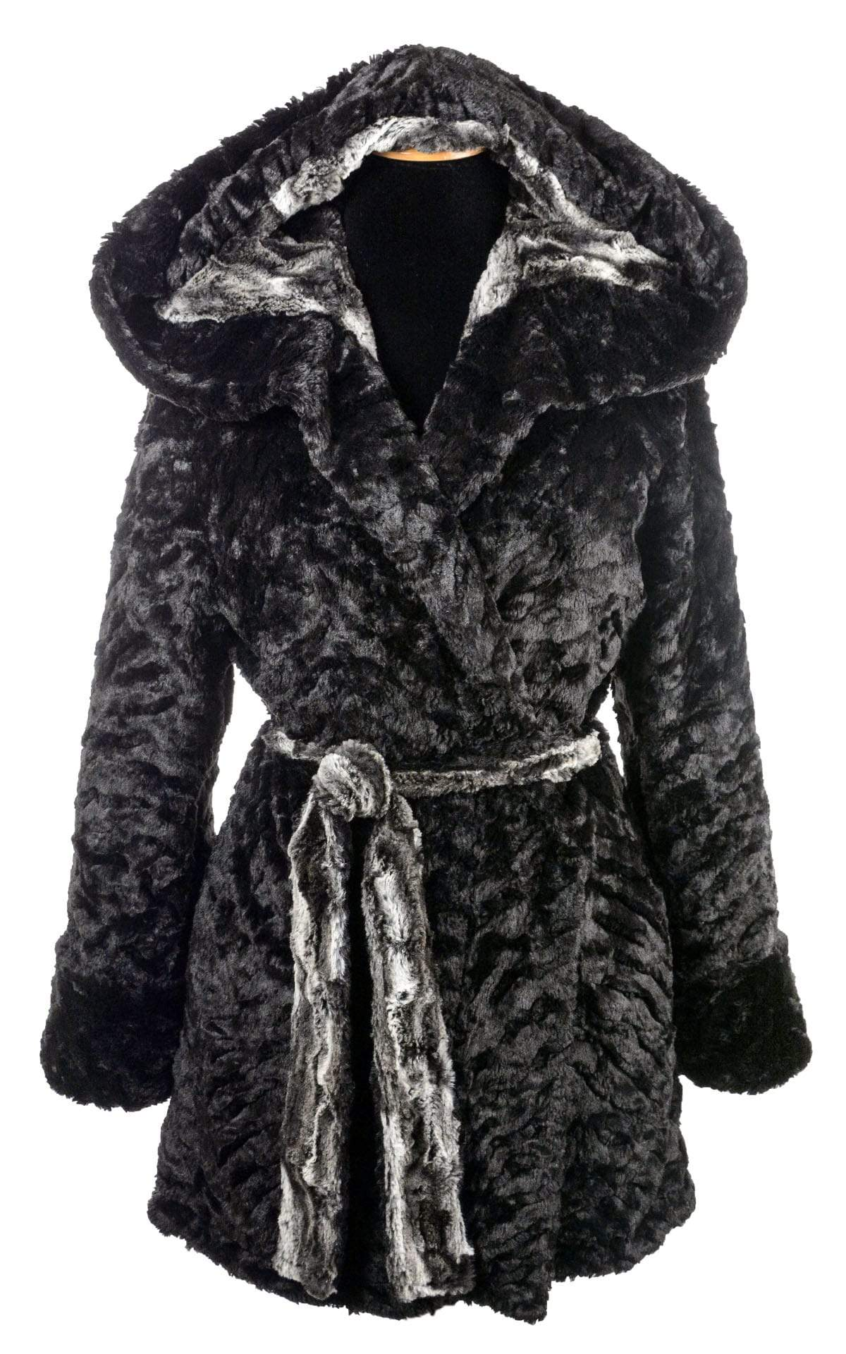Joplin Coat (Robe), Reversible less pockets - Luxury Faux Fur Agate in Black with Cuddly Fur in Black (Only One Medium Left!)