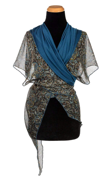 Pandemonium Millinery Kaftan - Peacock Paisley with Blue Moon Jersey Knit Peacock Paisley W/ Blue Moon Apparel