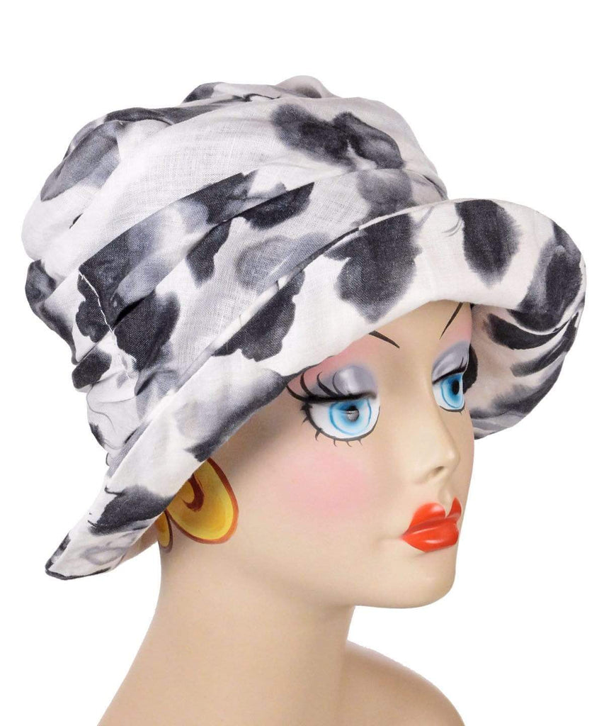 Pandemonium Millinery Krystyne Hat Style - Linen in Black/White Floral Hats