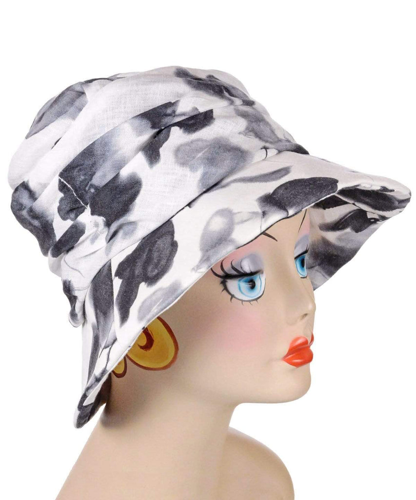 Pandemonium Millinery Krystyne Hat Style - Linen in Black/White Floral Medium / Hat Only Hats