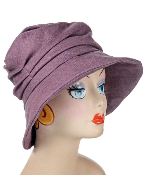 Pandemonium Millinery Krystyne Hat Style - Linen in Plum Medium / Hat Only Hats