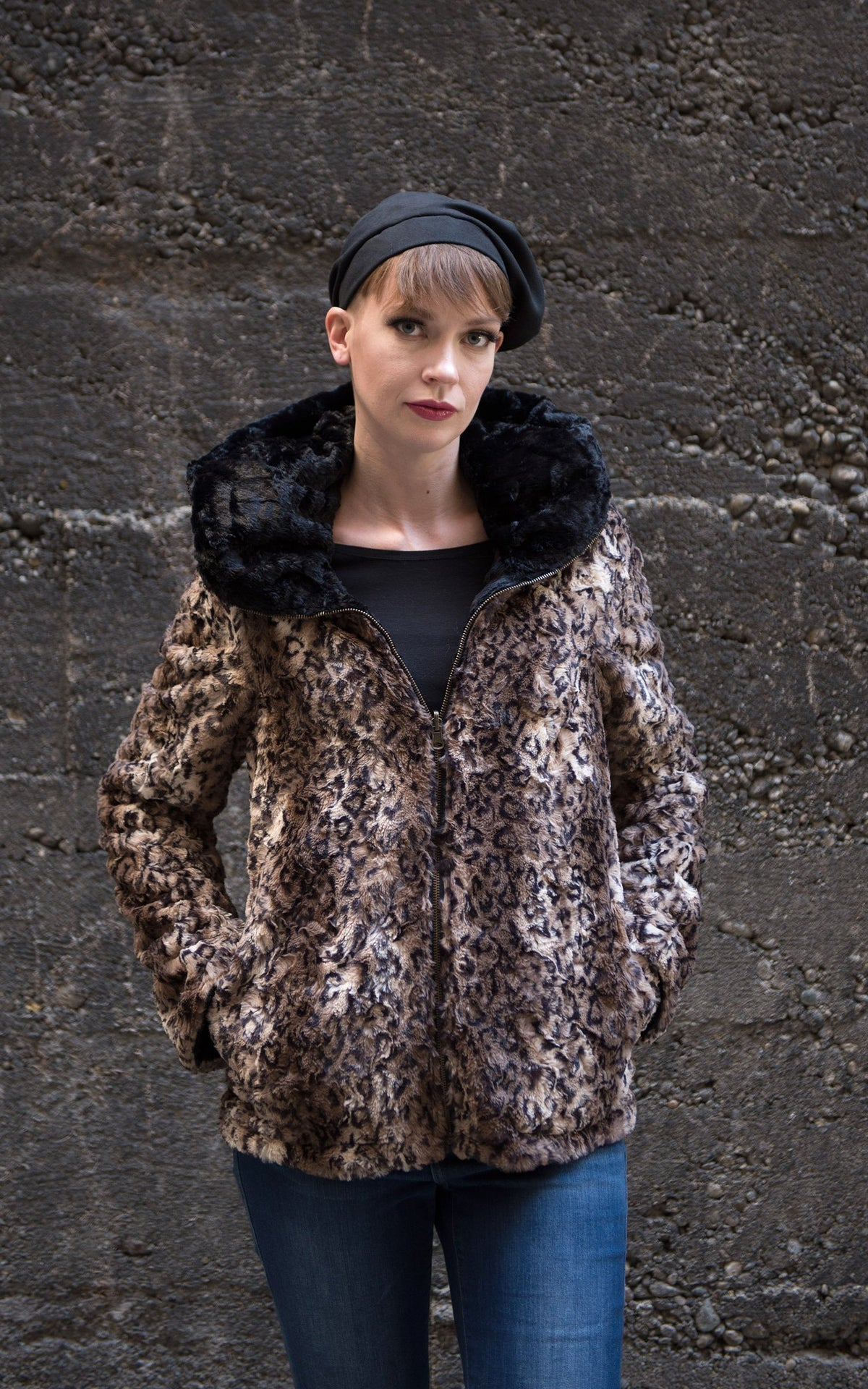 Loren Coat, Reversible - Luxury Faux Fur in Carpathian Lynx with Cuddly Fur in Black (Only One Small Left)