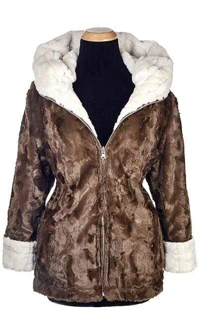 Loren Coat, Reversible - Luxury Faux Fur in Marshmallow Twist with Cuddly Fur in Chocolate (ONE LARGE LEFT!)