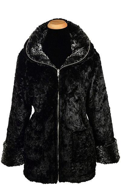 Loren Coat, Reversible - Luxury Faux Fur in Smoky Essence with Cuddly Fur in Black (ONE LARGE LEFT!)