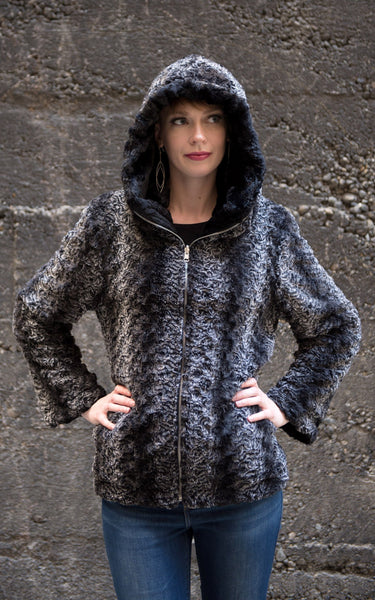 Loren Coat, Reversible - Luxury Faux Fur in Smoky Essence with Cuddly Fur in Black X-Small / Smoky Essence / Cuddly Black Outerwear Pandemonium Millinery