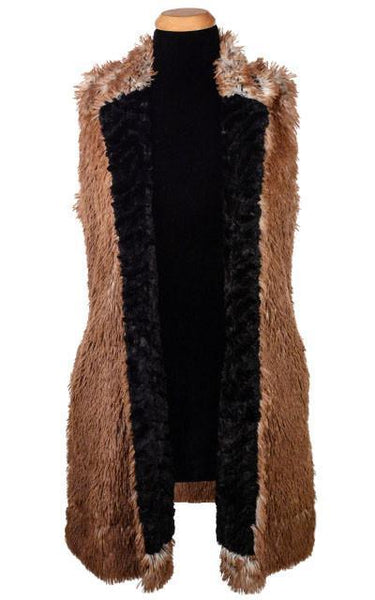 Mandarin Vest - Fox Faux Fur with Assorted Faux Fur X-Small / Arctic Fox / Cuddly Black Outerwear Pandemonium Millinery