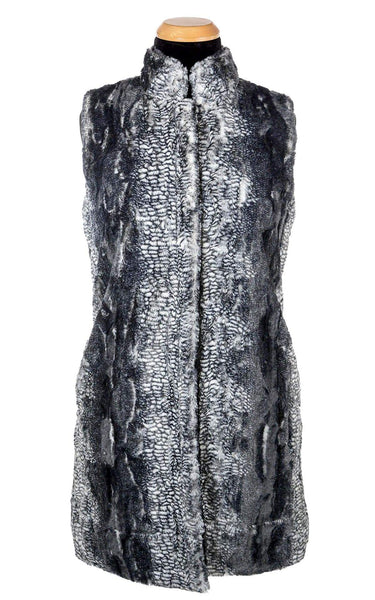 Pandemonium Millinery Mandarin Vest - Luxury Faux Fur in Black Mamba with Cuddly Fur in Black Outerwear