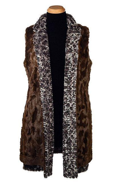 Mandarin Vest - Luxury Faux Fur in Calico with Cuddly Fur in Chocolate X-Small / Calico / Chocolate Outerwear Pandemonium Millinery