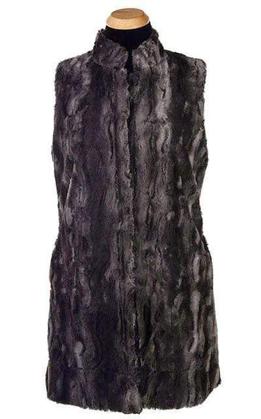 Pandemonium Millinery Mandarin Vest - Luxury Faux Fur in Espresso Bean with Cuddly Fur in Black X-Small / Espresso Bean / Black Outerwear