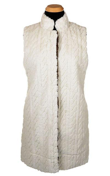 Mandarin Vest - Luxury Faux Fur in Marshmallow Twist X-Small / Marshmallow Twist Outerwear Pandemonium Millinery