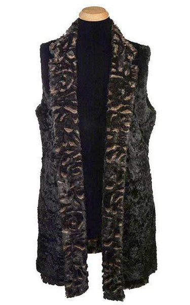 Pandemonium Millinery Mandarin Vest - Luxury Faux Fur in Vintage Rose with Cuddly Fur in Black Outerwear