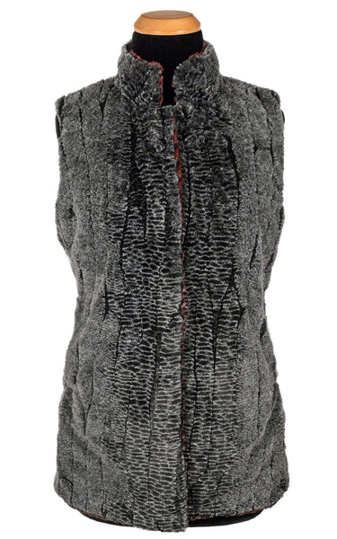 Pandemonium Millinery Mandarin Vest Short - Luxury Faux Fur in Rattlesnake Ridge with Assorted Faux Fur Outerwear